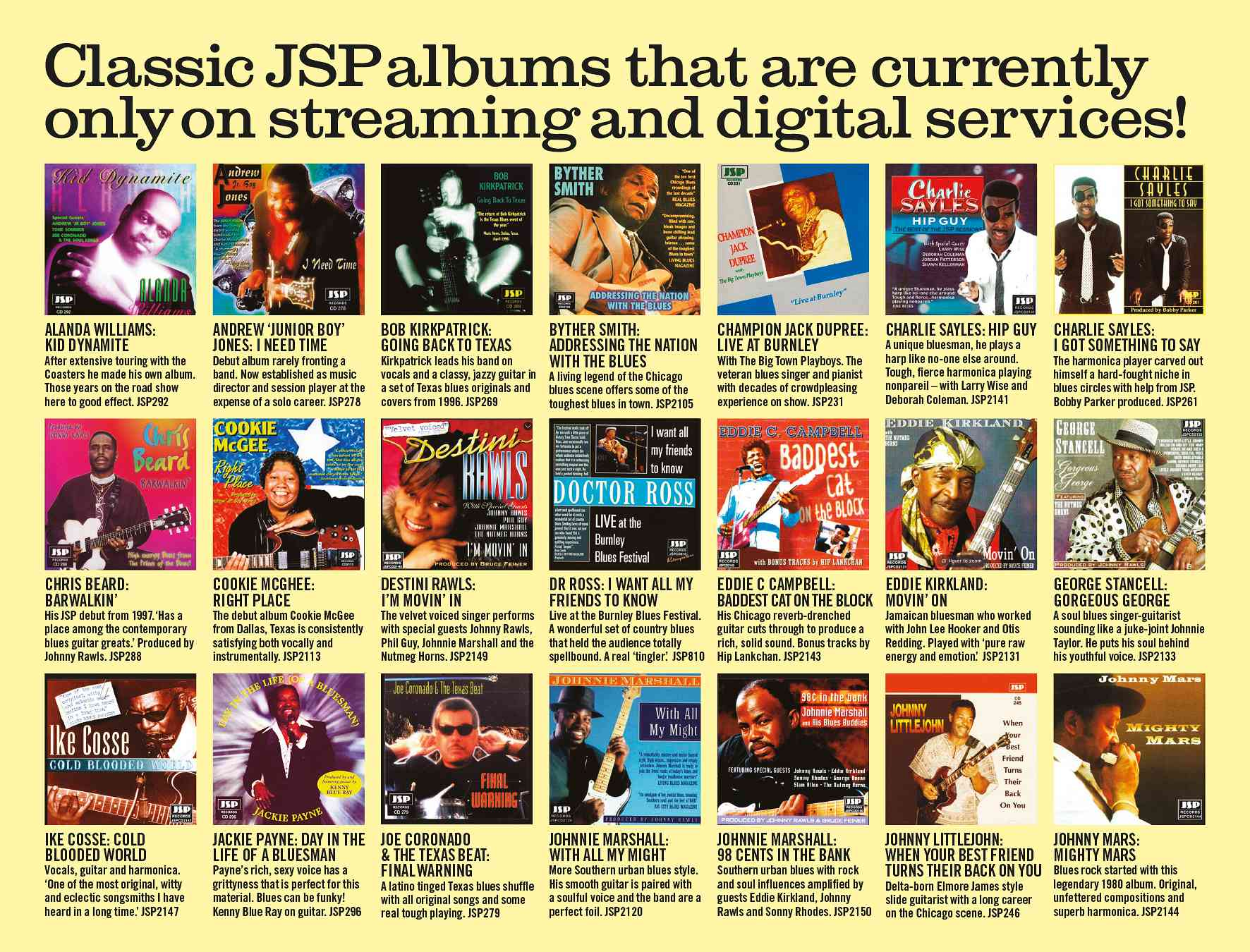 Classic JSP Albums That Are Currently Only On Streaming and Digital Services