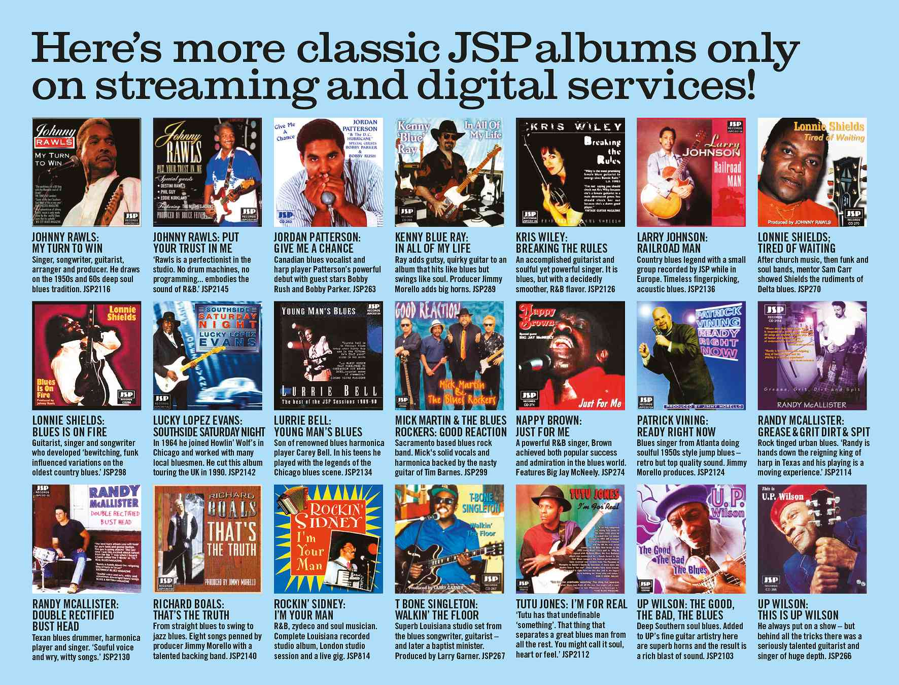 Here's More Classic JSP Albums Only On Streaming and Digital Services!